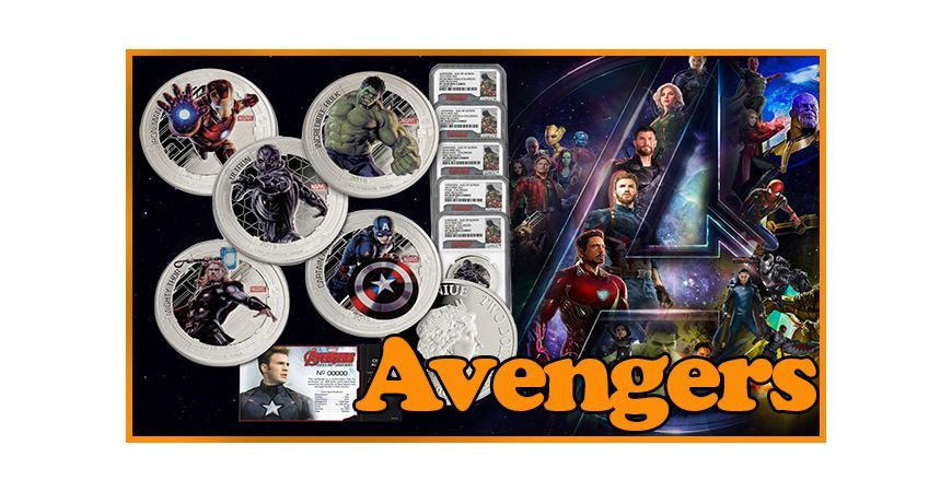 AVENGERS AGE OF ULTRON: A SILVER COINS SET INCLUDING THE PROTAGONIST'S COSTUMES